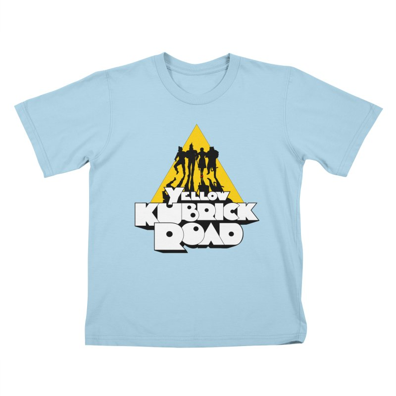 Follow the Yellow Kubrick Road Kids T-Shirt by Tom Burns