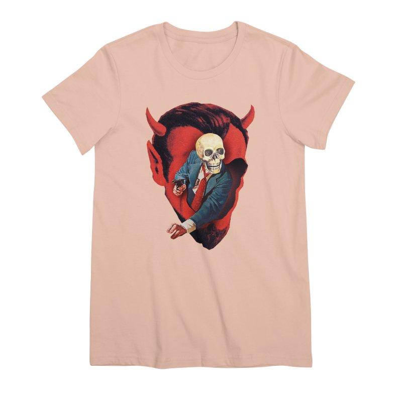 Devilhead Skullman Women's Premium T-Shirt by Tom Burns