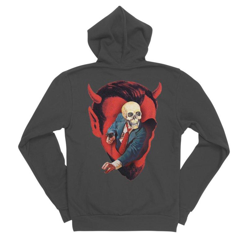 Devilhead Skullman Women's Sponge Fleece Zip-Up Hoody by Tom Burns
