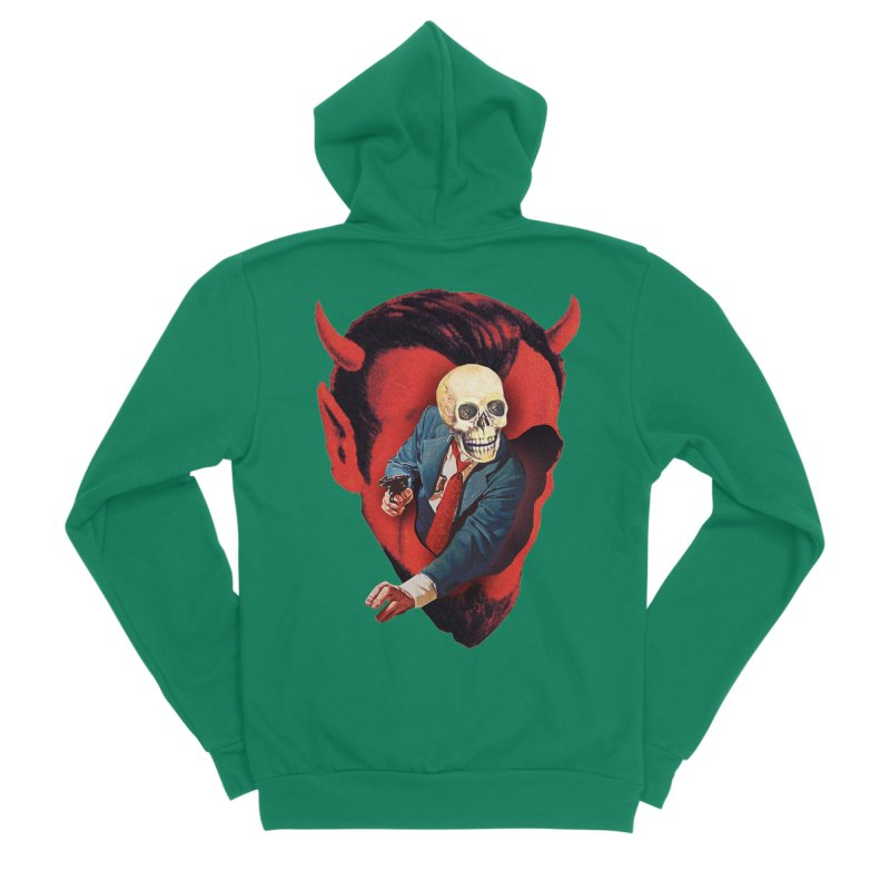 Devilhead Skullman Men's Sponge Fleece Zip-Up Hoody by Tom Burns