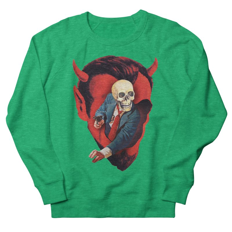Devilhead Skullman Women's French Terry Sweatshirt by Tom Burns