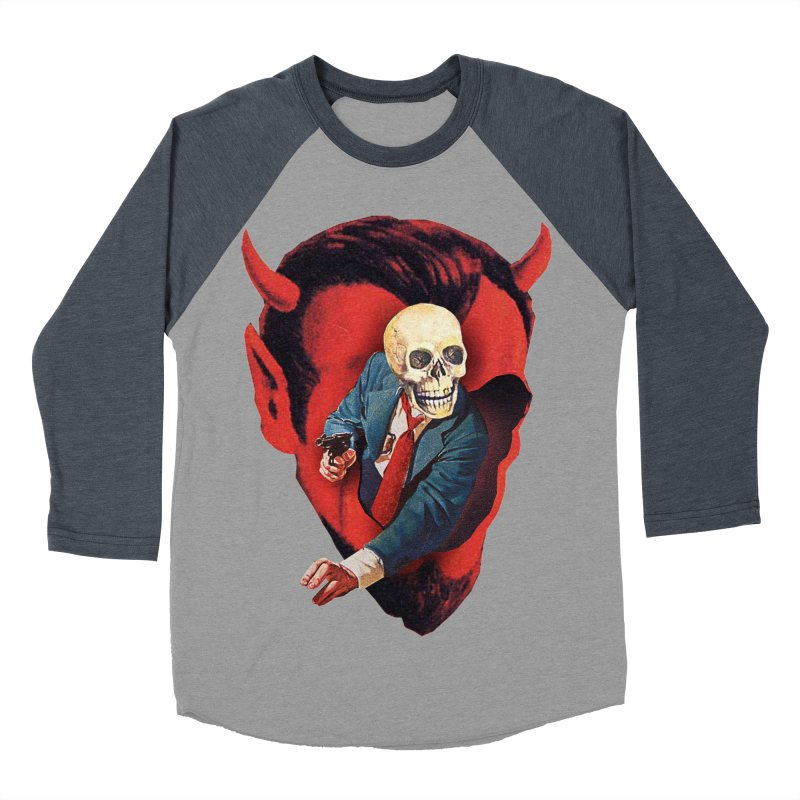 Devilhead Skullman Men's Baseball Triblend Longsleeve T-Shirt by Tom Burns