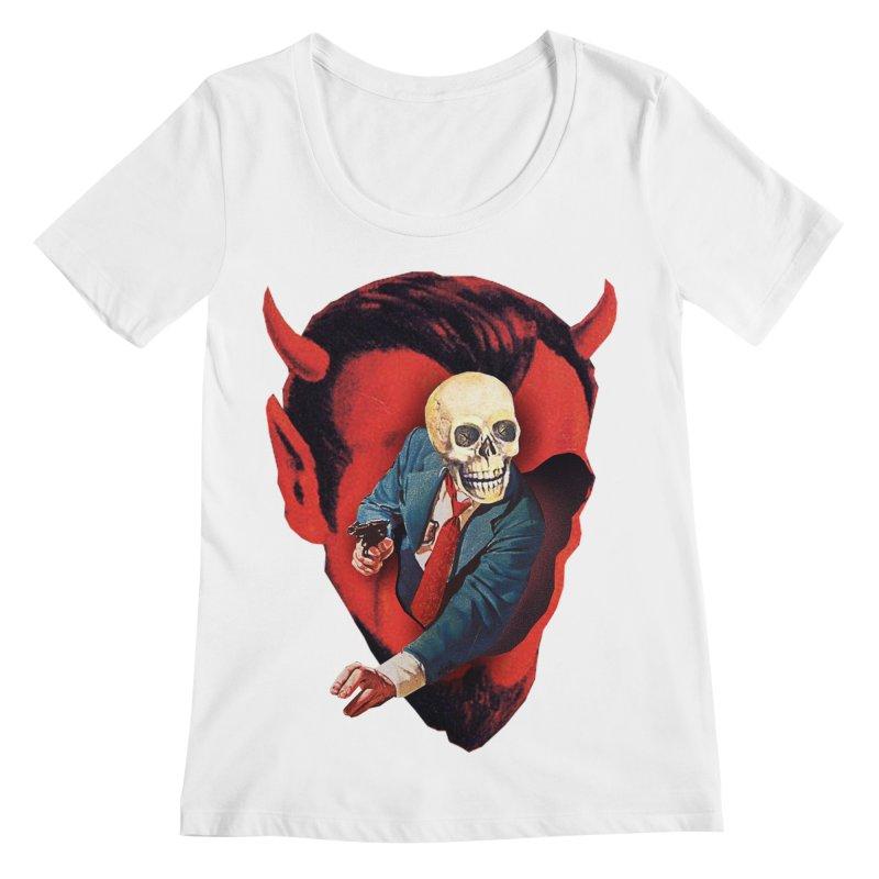 Devilhead Skullman Women's Regular Scoop Neck by Tom Burns