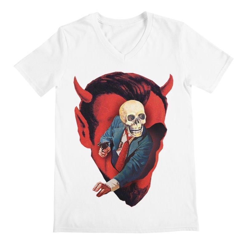 Devilhead Skullman Men's Regular V-Neck by Tom Burns