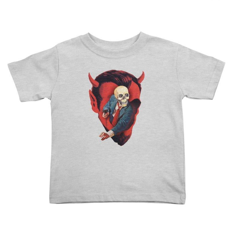 Devilhead Skullman Kids Toddler T-Shirt by Tom Burns