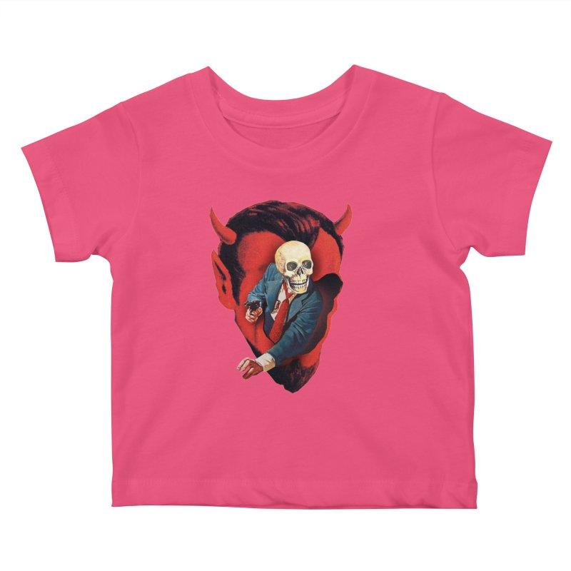 Devilhead Skullman Kids Baby T-Shirt by Tom Burns