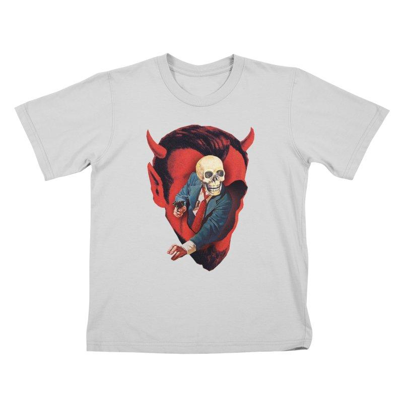 Devilhead Skullman Kids T-Shirt by Tom Burns