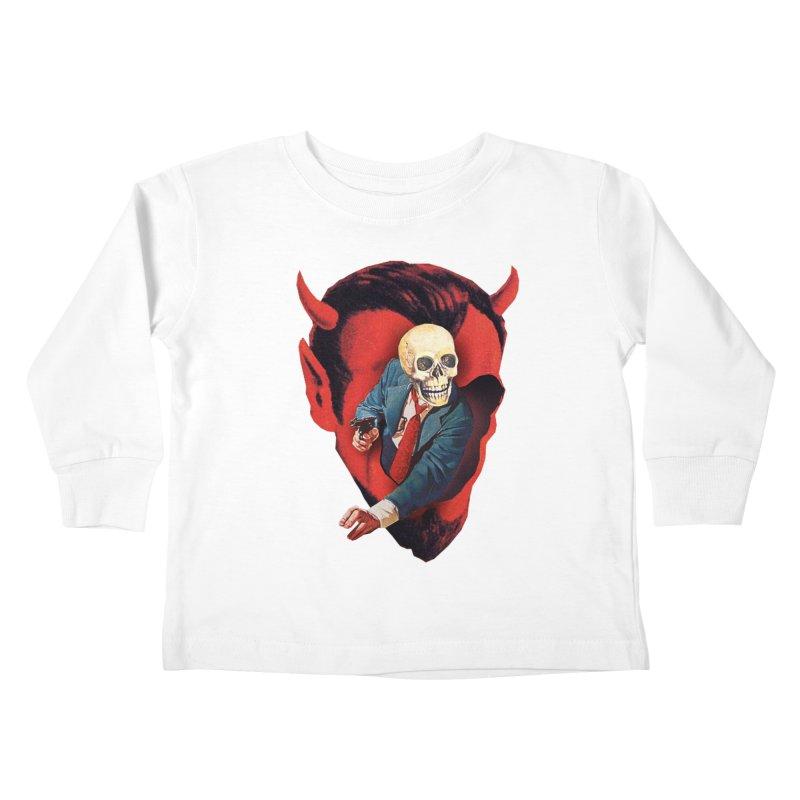 Devilhead Skullman Kids Toddler Longsleeve T-Shirt by Tom Burns