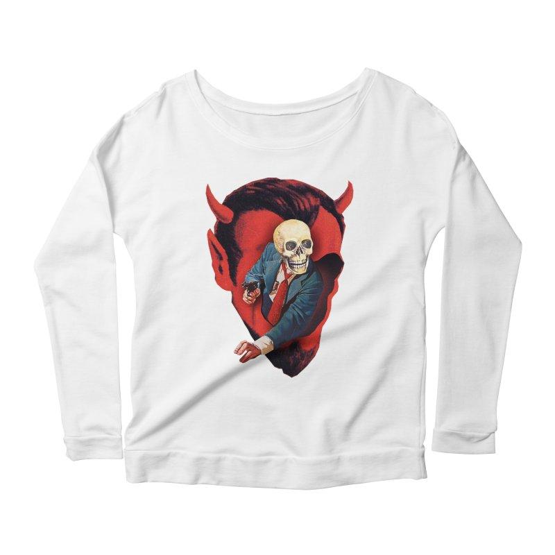 Devilhead Skullman Women's Scoop Neck Longsleeve T-Shirt by Tom Burns