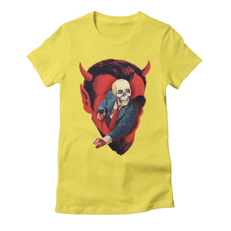 Devilhead Skullman Women's Fitted T-Shirt by Tom Burns