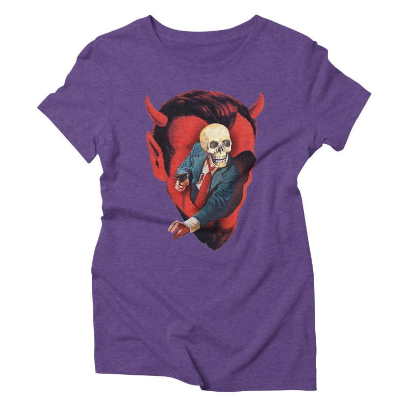 Devilhead Skullman Women's Triblend T-Shirt by Tom Burns