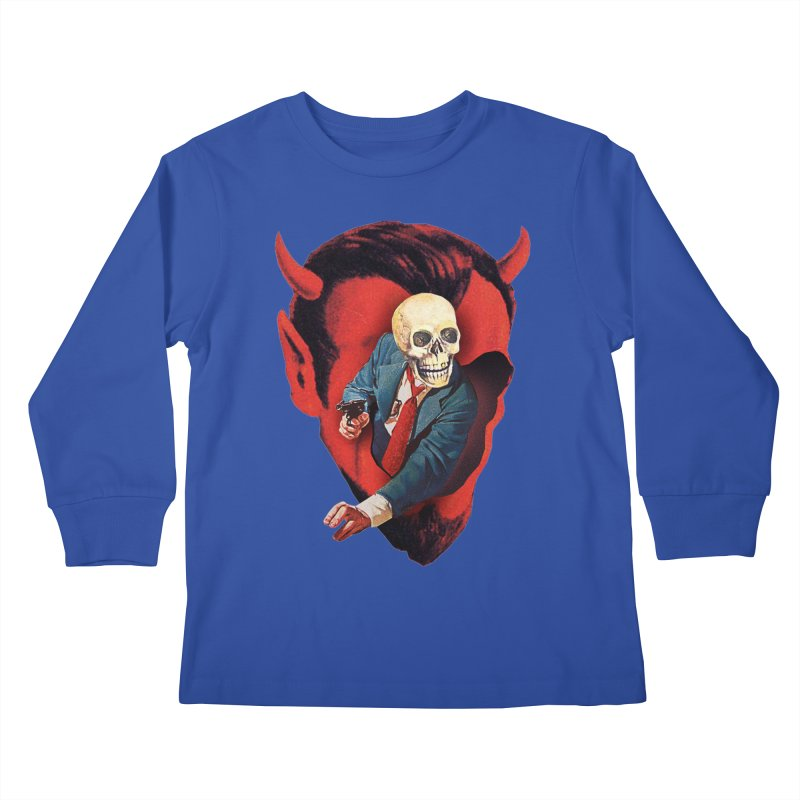 Devilhead Skullman Kids Longsleeve T-Shirt by Tom Burns