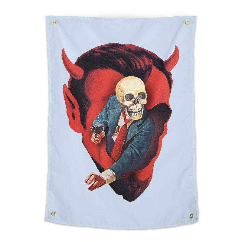 Devilhead Skullman Home Tapestry by Tom Burns