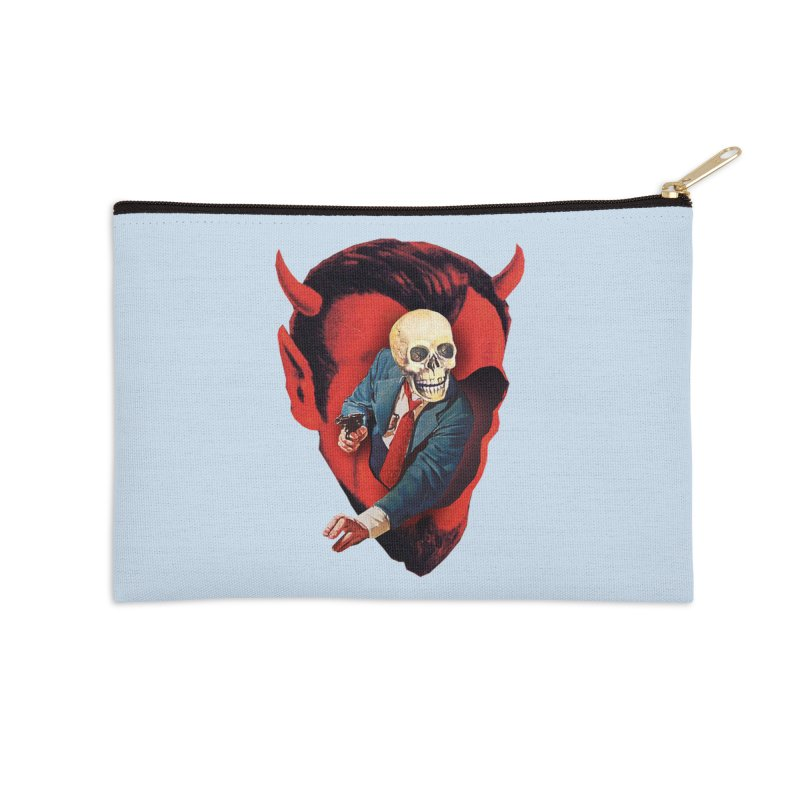 Devilhead Skullman Accessories Zip Pouch by Tom Burns