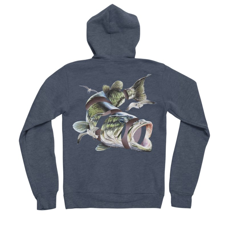 Flying Fish Men's Sponge Fleece Zip-Up Hoody by Tom Burns