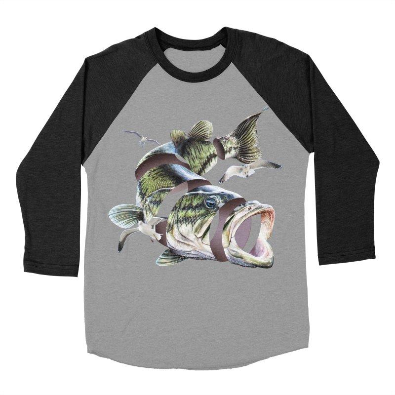 Flying Fish Men's Baseball Triblend Longsleeve T-Shirt by Tom Burns