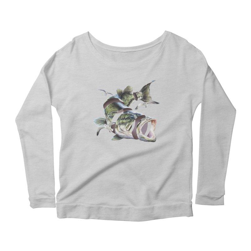 Flying Fish Women's Scoop Neck Longsleeve T-Shirt by Tom Burns