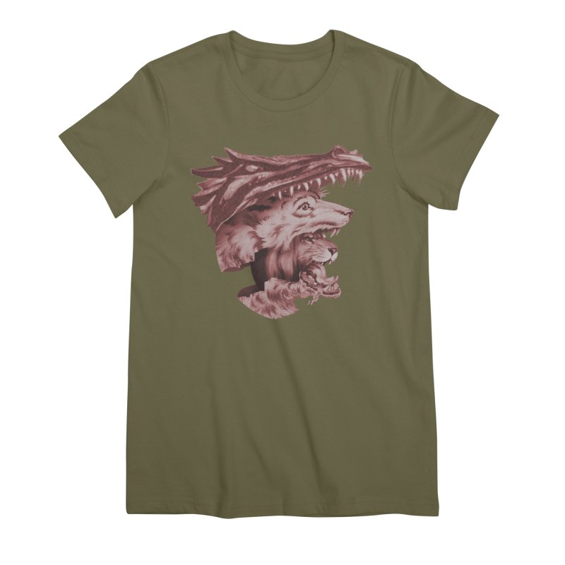 Lions Dragons Wolves Oh My Women's Premium T-Shirt by Tom Burns