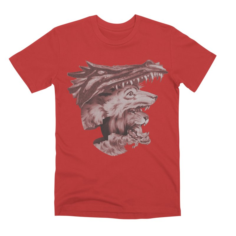 Lions Dragons Wolves Oh My Men's Premium T-Shirt by Tom Burns