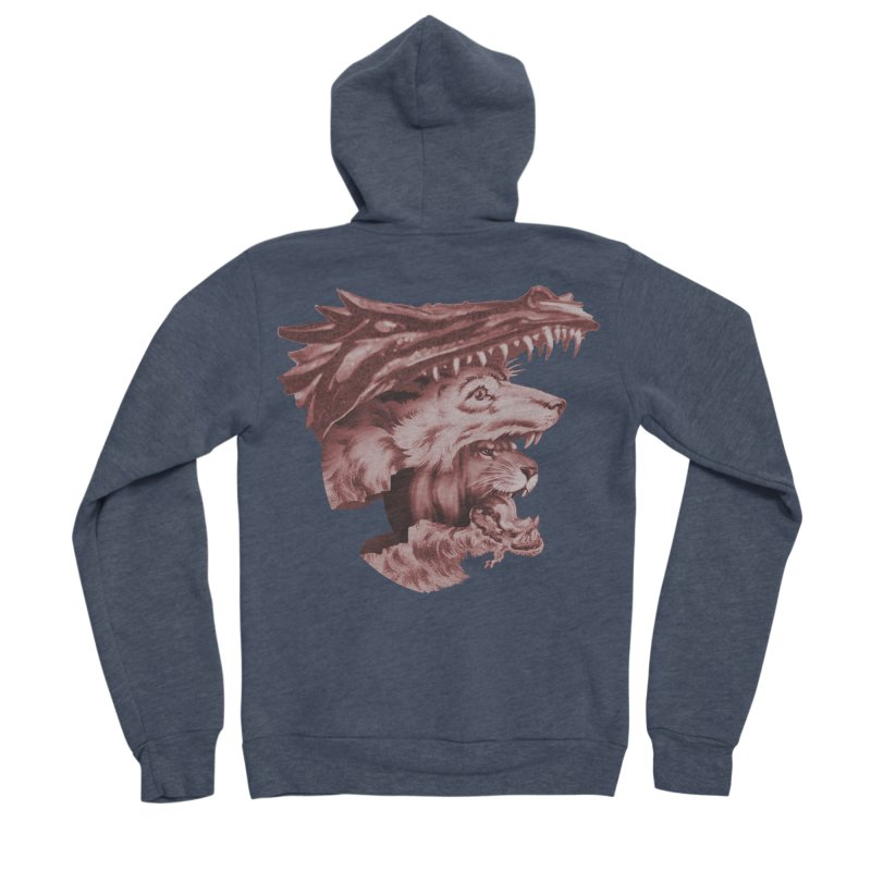 Lions Dragons Wolves Oh My Men's Sponge Fleece Zip-Up Hoody by Tom Burns