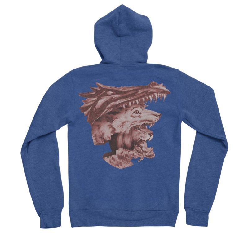 Lions Dragons Wolves Oh My Women's Sponge Fleece Zip-Up Hoody by Tom Burns