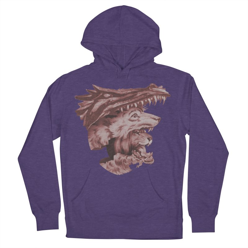 Lions Dragons Wolves Oh My Men's French Terry Pullover Hoody by Tom Burns