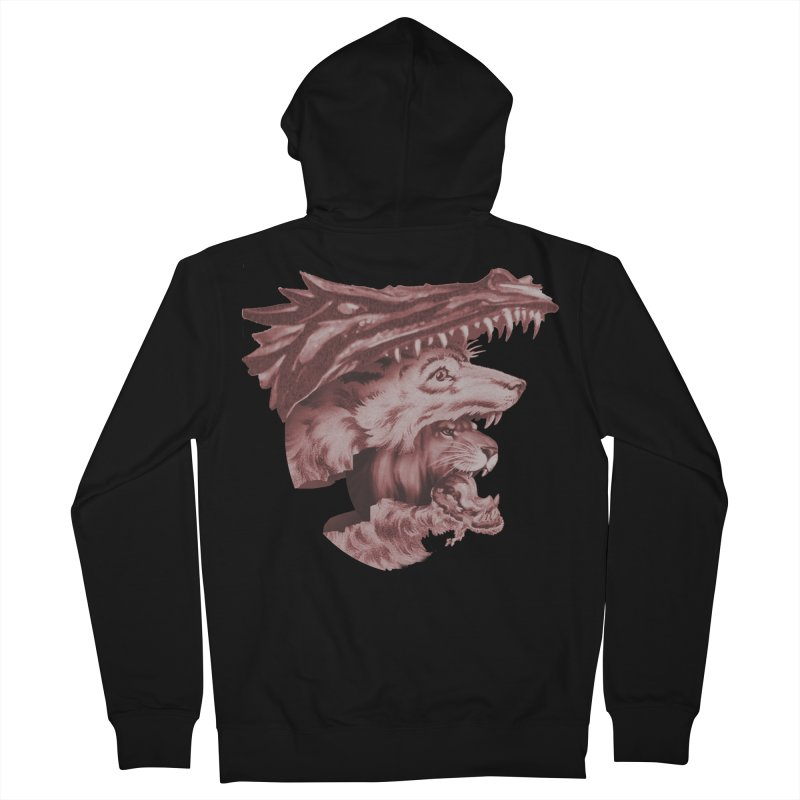 Lions Dragons Wolves Oh My Women's French Terry Zip-Up Hoody by Tom Burns