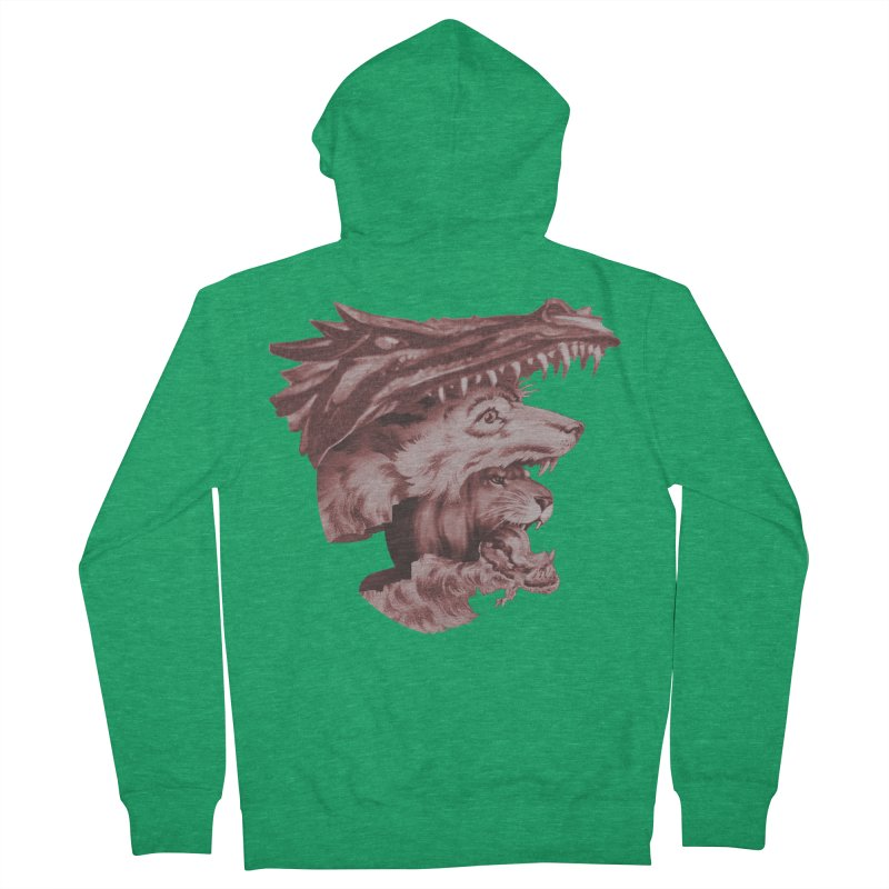 Lions Dragons Wolves Oh My Men's French Terry Zip-Up Hoody by Tom Burns