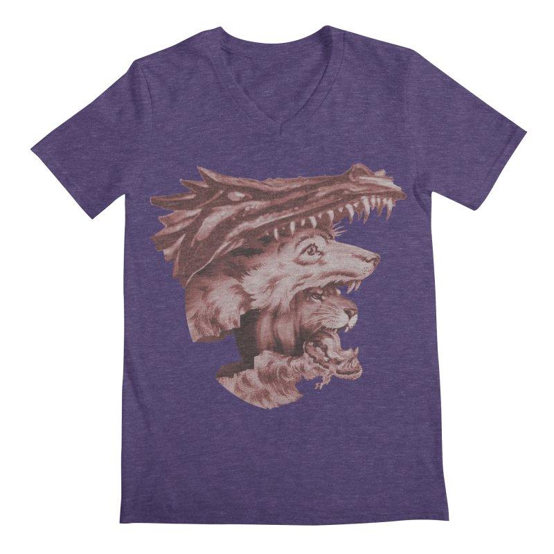 Lions Dragons Wolves Oh My Men's Regular V-Neck by Tom Burns