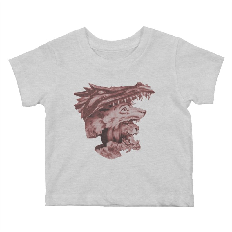 Lions Dragons Wolves Oh My Kids Baby T-Shirt by Tom Burns