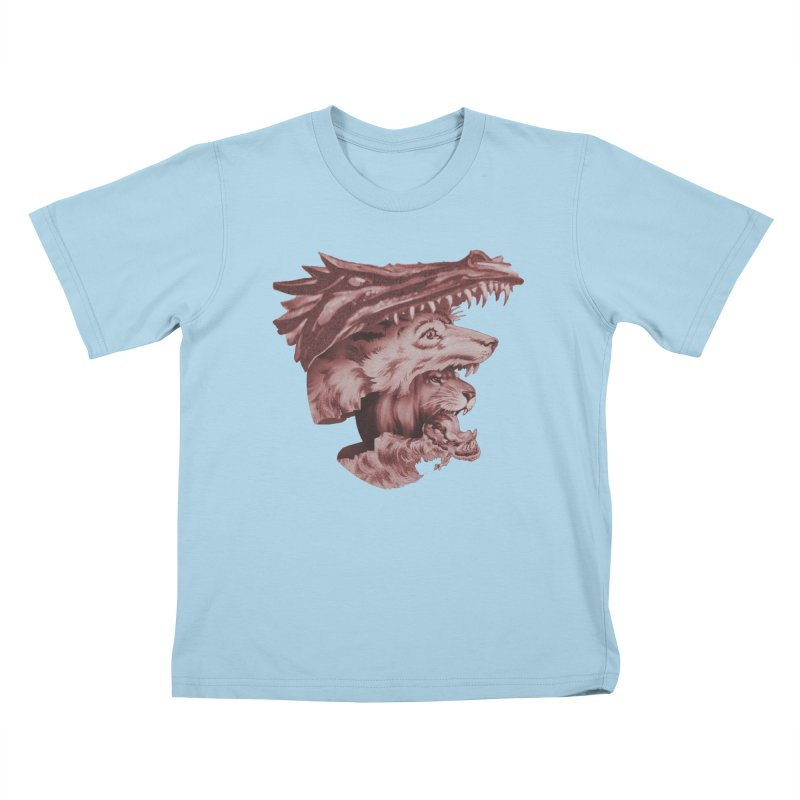 Lions Dragons Wolves Oh My Kids T-Shirt by Tom Burns