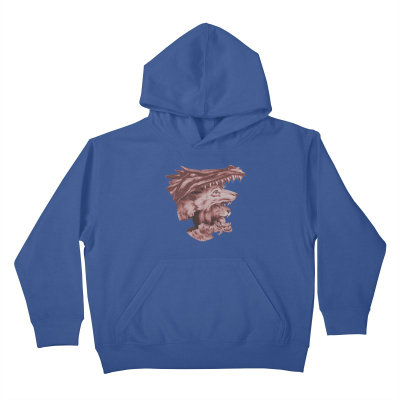 Lions Dragons Wolves Oh My Kids Pullover Hoody by Tom Burns