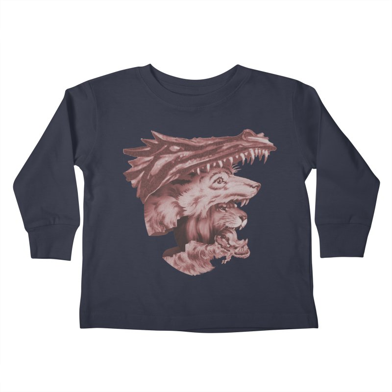 Lions Dragons Wolves Oh My Kids Toddler Longsleeve T-Shirt by Tom Burns