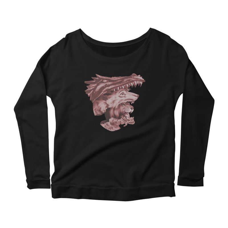 Lions Dragons Wolves Oh My Women's Scoop Neck Longsleeve T-Shirt by Tom Burns