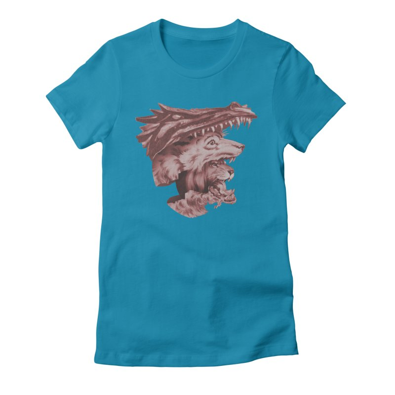 Lions Dragons Wolves Oh My Women's Fitted T-Shirt by Tom Burns