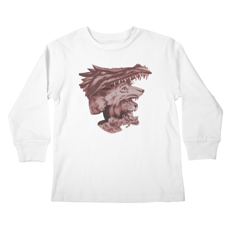 Lions Dragons Wolves Oh My Kids Longsleeve T-Shirt by Tom Burns