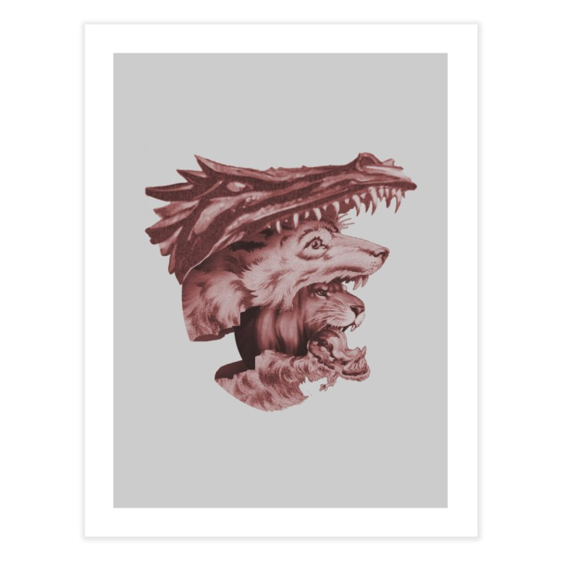 Lions Dragons Wolves Oh My Home Fine Art Print by Tom Burns