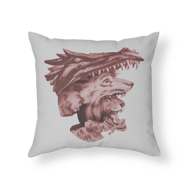 Lions Dragons Wolves Oh My Home Throw Pillow by Tom Burns