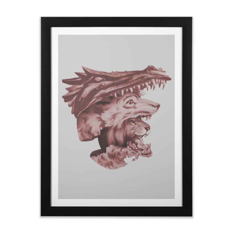 Lions Dragons Wolves Oh My Home Framed Fine Art Print by Tom Burns