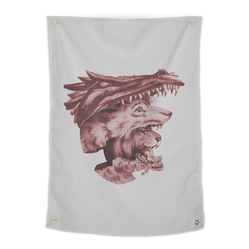 Lions Dragons Wolves Oh My Home Tapestry by Tom Burns