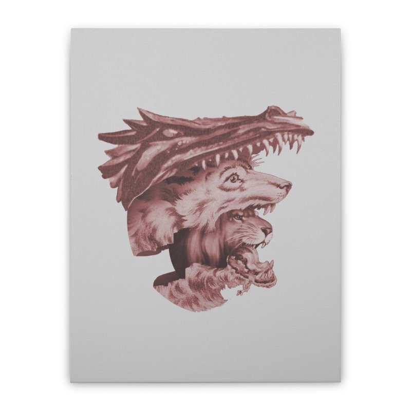 Lions Dragons Wolves Oh My Home Stretched Canvas by Tom Burns