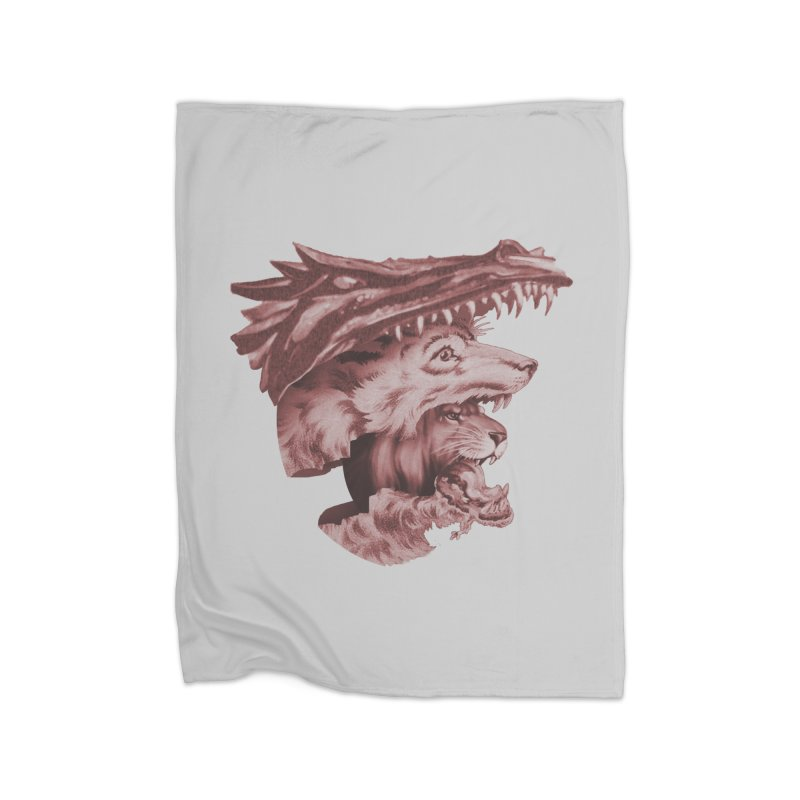 Lions Dragons Wolves Oh My Home Fleece Blanket Blanket by Tom Burns