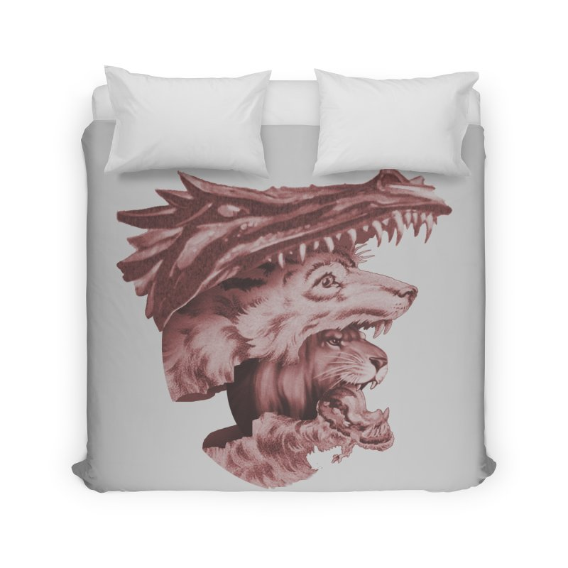 Lions Dragons Wolves Oh My Home Duvet by Tom Burns