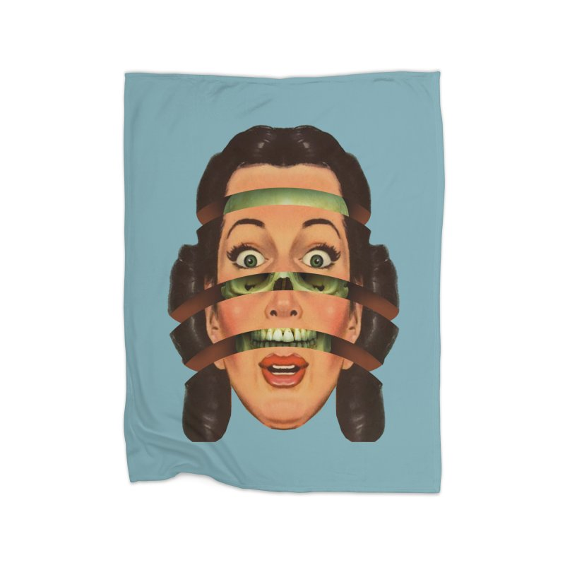 Skullhead Girl Home Fleece Blanket Blanket by Tom Burns