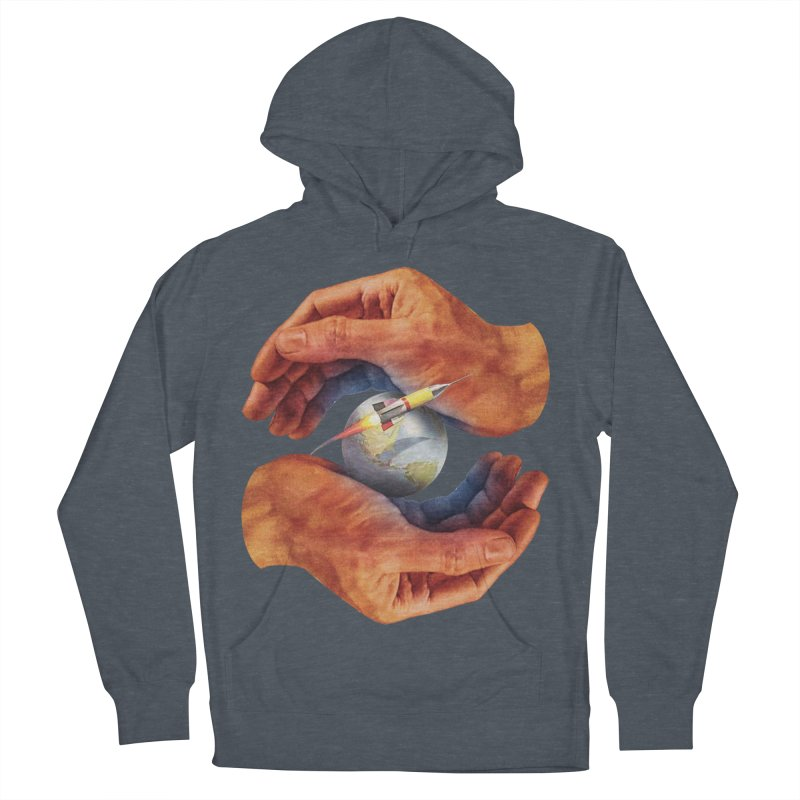 Space Hands Men's French Terry Pullover Hoody by Tom Burns