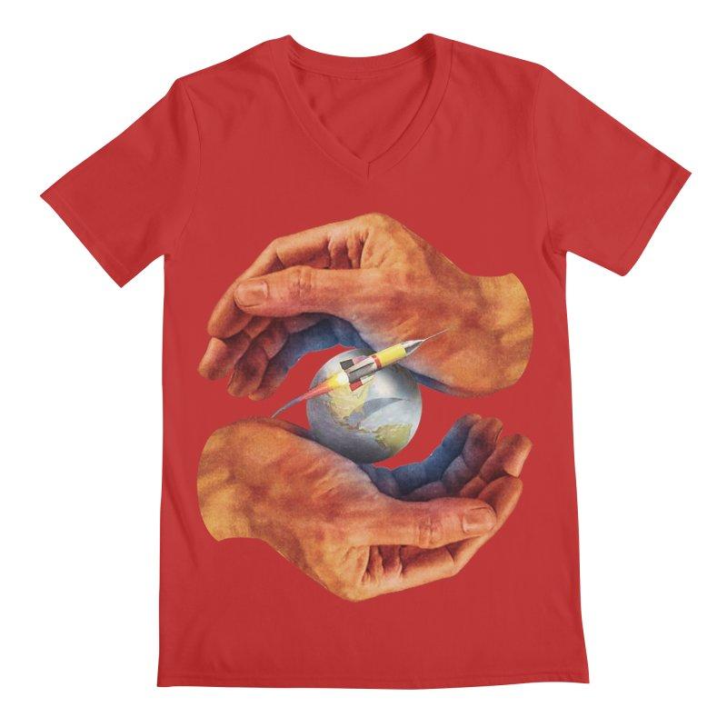Space Hands Men's Regular V-Neck by Tom Burns