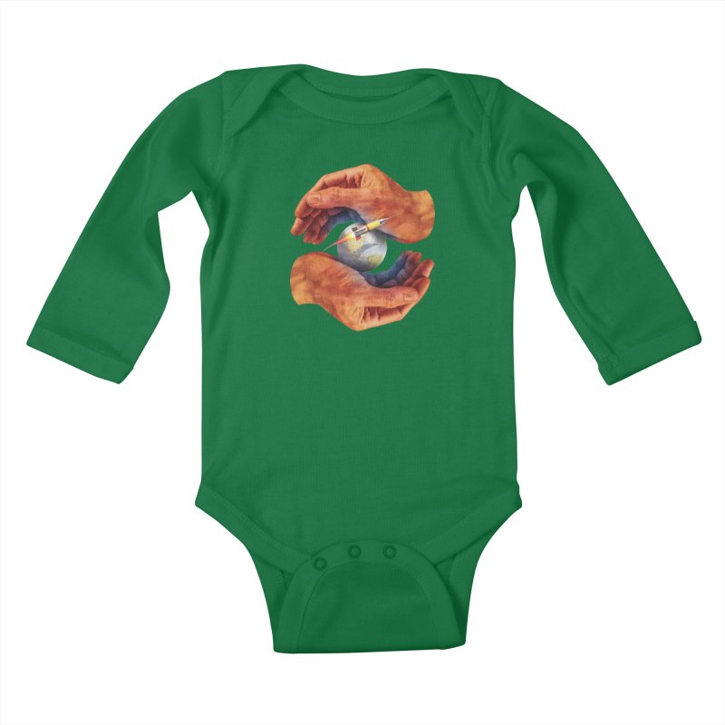 Space Hands Kids Baby Longsleeve Bodysuit by Tom Burns