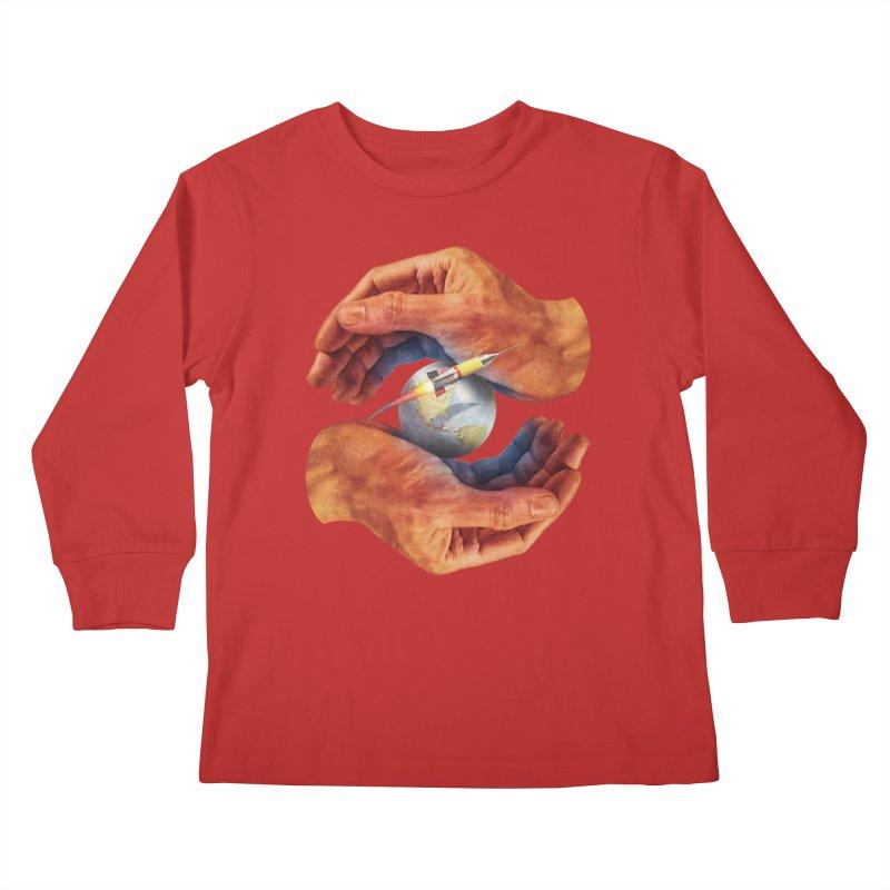 Space Hands Kids Longsleeve T-Shirt by Tom Burns