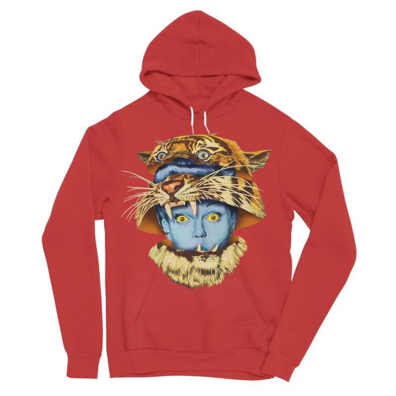 Tiger Lady Women's Sponge Fleece Pullover Hoody by Tom Burns