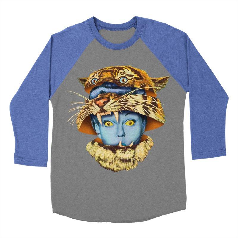 Tiger Lady Men's Baseball Triblend Longsleeve T-Shirt by Tom Burns